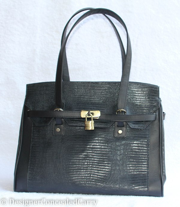 Padlock Satchel - black lizard